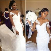 amerikanische lange ärmel brautkleider großhandel-Elegantes Afroamerikaner-Schwarz-Mädchen-Hochzeits-Kleid 2018 Mermaid White V-Ausschnitt Sheer Long Sleeves Lace Long Bridal Gown