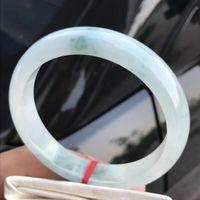 pulseira de jade verde natural venda por atacado-Apenas um! 60MM Certified (Grau A) 100% Natural verde Jadeite pulseira de Jade Mulheres Bangle 72706