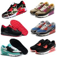Wholesale Massage Flash - 20017 New 90 Running Shoes Flash Men Essential Black Red White Blue Sports Trainer Air Cushion Surface Breathable Shoes