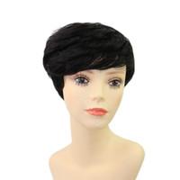 Wholesale black women hair cuts for sale - Pixie cut short machine made none lace wig Human hair Peruvian virgin human hair for black woman