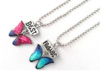 Wholesale Butterfly Beads - HOT SALE Kids jewelry children multi color epoxy print enamel butterfly best friends BFF necklace bead chain pendant charm lead free 10pcs