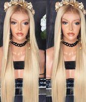glueless 613 lace perucas venda por atacado-Top Qualidade 8/613 # Marrom / Loiro Longo De Seda Em Linha Reta Glueless Lace Wig Resistente Ao Calor Brasileira Perucas Dianteiras Do Laço Sintético para As Mulheres Negras