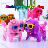 Wholesale battery operated toy dogs resale online - Electronic plush toys dog Pets Bark Stand Walk Electronic Toys Dog Walking Barking Toy Funny Electric Short Floss Dog GGA402