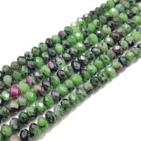 Wholesale faceted gemstones - Lii Ji Gemstone Ruby Zoisite Flat Round shape Faceted about 4x6mm  5x7mm 39cm strand DIY Jewelry Making Necklace or Bracelet