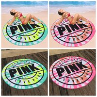 Wholesale outdoor picnic blanket - 160cm Pink Round Beach Towel Microfiber Absorbent Quick Drying Towels Swimming Bath Sports Towels Picnic Blanket Outdoor Mat CCA9655 20pcs
