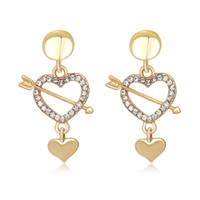 Wholesale united arrows - New Fashion Europe and The United States Alloy Inlaid Crystal Cupid Love Hearts Arrows Earrings
