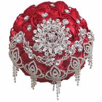 ingrosso fare il bouquet di fiori-Bouquet da sposa rosa rossa Bouquet da sposa in cristallo Bouquet da sposa fatto a mano