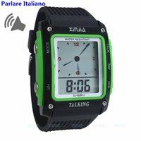 konuşan saatler toptan satış-Dikdörtgen Kadran, Siyah ve Yeşil Renkli, Kör ve Yaşlı Elektronik Spor kol saatleri için İtalyanca Konuşan Saat 829TI-G