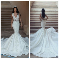 Wholesale wedding dress sequin back strap online - 2018 Sexy Deep V Neck Mermaid Wedding Dresses See Through Back Lace Appliques Custom Bridal Dress Glamorous Dubai Lace Bridal Gowns Slim