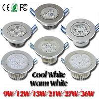luces de techo brillantes regulables al por mayor-Super Bright 9W / 12W / 15W / 21W / 27W / 36W Led Lámparas de techo Lámpara rescatada AC 85-265V Dimmable Led Down Lights Warm / Pure / Cold White + Controladores