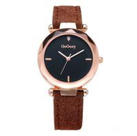 2cc58204d335 Moda reloj de pulsera de cuarzo para mujer Marca de lujo Reloj para dama  Reloj de pulsera de cuero retro con esfera blanca y negra Reloj retro