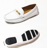 Wholesale White Nurses Shoes - Name branded ladys leisure flats nurse shoes soft genuine leather women slip-on moccasin lazy driving sneakers 36-41