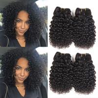 kısa insan saçı örgüleri toptan satış-Brezilyalı Bakire Saç 4 Paketler Kısa Sapıkça Kıvırcık İnsan Saç 9A Perulu Malezya Hint Kıvırcık Saç Örgü Doğal Renk 50 g / adet Toplam 200g