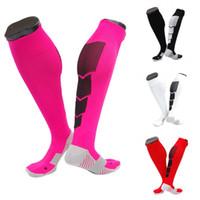 Wholesale hot men sock soccer - Hot Sale Compression Sock For Women & Men Soccer Socks Non-slip Sport Football Socking 6 Colors Wholesale Free DHL G467Q