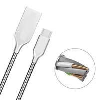 flexibles metallkabel großhandel-Heißer artikel 1 mt edelstahl metall usb ladekabel starke flexible stahl sync daten micro usb kabel schnellladung