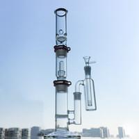 ingrosso grande tubo di vapore-Tubi d'acqua in vetro Bong 3 Chambers Disco a nido d'ape Costruisci un olio di vetro Bong Dab Rigs Soffione a cupola con raccoglitore di cenere Tubo dritto WP522