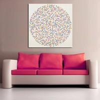 círculos de arte de la pared al por mayor-1 Panel Moderno Pintura Círculo Incluye Muchos Puntos de Colores Impreso Lienzo Pintura Imagen de Arte de Pared Para la Sala Sin Marco