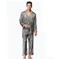 Wholesale plus size silk pajamas - Silky male Pyjama sets in the Rooms Long Sleeved Satin Silk High Quality Men's Pajamas Sets Plus Size Youth Home pijamas