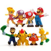 süper mario bros figür seti toptan satış-8pcs / set Super Mario Bros 2