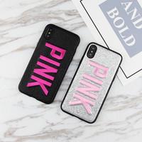 telefones celulares rosa à venda venda por atacado-Venda quente rosa preto prata casos de telefone celular para iphone6 7 8 plus 6 s x tpu padrão bordado moda móvel phone case transporte rápido
