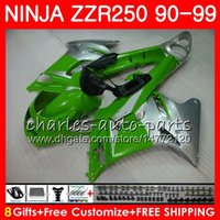 zzr carenados verde al por mayor-Carrocería para KAWASAKI NINJA Z ZR-250 ZZR250 90 91 92 93 94 117 117HM16 ZZR 250 Light 1990 1991 1992 1993 1994 1999 Green Fairing kit