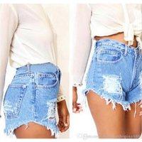 jeans preto quente das meninas venda por atacado-Novo 2018 Moda Branco Preto Rasgado Mulheres Sexy Hot Girls Buraco Shorts Jeans Mulheres Jeans de Férias de Verão Solto Shorts Plus Size