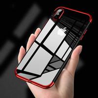 telefones celulares rosa à venda venda por atacado-Caso TPU macio para o iPhone X Xr Xs Max 8 7 6 6 S Plus casos ultra fino transparente chapeamento brilhante case para iphone xs misto de silício tampa traseira