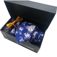 ingrosso gemelli di bottoni a bottone-Cravatta in cotone pettinato per gli uomini Festa di nozze Visualizza Anniversario Camicia Suit Fazzoletto floreale scarna Gemello Cravatta Clip Bottoni Tasca Confezione regalo