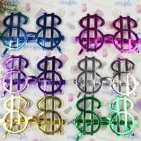 ingrosso colorati grandi vetri-ins vendita calda 8 * 13.5 cm Halloween Funny Dollar Occhiali adolescenti colorati di plastica Halloween grandi occhiali giocattoli divertenti per bambini H170