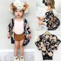 Wholesale kimono european style - Fashion Baby Girls Clothes Flower Tassel Kimono Shawl Cardigan Tops Outfits Baby Clothes Spring Summer Autumn Outwear Coat Girls Clothing