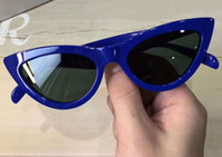 Wholesale women s eye glasses frames - Women Designer 40019 S Cat Eye Sunglasses Blue Frame Grey Lenses Fashion Eyewear Driving Glasses New in box