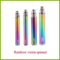 Wholesale rainbow ego twist online - rainbow vision spinner ego twist variable voltage battery V V mah factory e cigarette vape pen