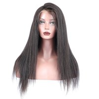 Wholesale yaki human hair wigs bangs for sale - 2018 unprocessed virgin remy human hair bangs yaki straight natural color top full lace wig for women