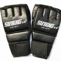 Wholesale half finger gloves men leather resale online - 1 Pair Pu Leather Boxing Glove Sport Men Half Finger Thai Gloves Training Boxing Mittens Protective Gear bo Ww
