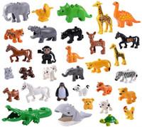 Wholesale large plastic building blocks for sale - Group buy Animal Large Particle fit Legoings Duplo Animal Figures City Zoo Model Building Blocks Bricks Kids Toys DIY Gift