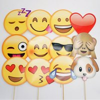 Wholesale face picture - QQ Smiling Face Photograph Prop Emoji Expression Birthday Wedding Party Decorations Blame Funny Emoji Expression Picture Props 7pc Y