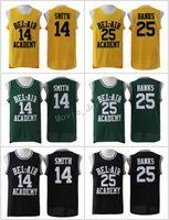 jerseys amarillos negros al por mayor-El Príncipe de Bel-Air recién cosido # 14 Will Smith Jersey Bel-Air Academy Versión de película Jersey # 25 Carlton Banks Jerseys Negro Verde Amarillo