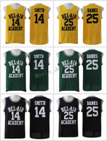 ingrosso banca nera-The Fresh Prince di Bel-Air Stitched # 14 Will Smith Jersey Bel-Air Academy Versione Movie Jersey # 25 Carlton Banks Maglie Nero Verde Giallo