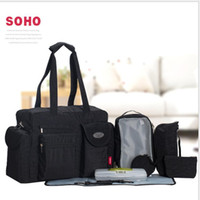 Wholesale diaper bag pieces - SoHo diaper bag City Carry all 9 pieces nappy tote bag for baby mom Maternity Baby Diaper Tote Bag with Changing Pad LJJK932
