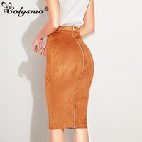 13517df8683 Colysmo Autumn Suede Midi Skirt High Waist Faux Leather Skirt Winter Skirts  Womens Two-way Zipper Through Pencil Skirt Saia Midi C18110801