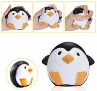 Wholesale penguin key chain - Squishy Penguin 11cm Slow Rising Toy Decompression Bread Relieve Stress Cake Sweet Animal Cell Phone Strap Phone Pendant Key Chain Toy Gift