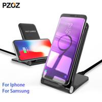 adaptador android para iphone dock al por mayor-soporte cargador inalámbrico plegable al por mayor qi carga rápida inalámbrica 10w para el iphone 8 x samsung s9 pad s8 Dock Station adaptador de Android