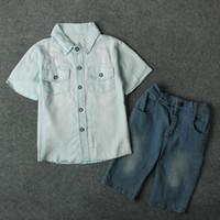 Wholesale Blue Jeans For Kids - Kids boys denim shirt 2pc set blue short sleeve shirt+pants infants summer casual jeans outfits for 2-7T