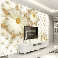 Wholesale paint photo backdrop - Custom photo wallpaper 3D leather flower mural reliefs backdrop simple fashion large mural 3d wall murals wallpaper painting