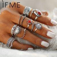 ingrosso anelli di pietre rosse naturali-IF ME Vintage Bohemian Midi Anelli per dito Set per le donne Moon Sun Etnici Red Natural Stone Knuckle Rings Regalo 14pcs / set