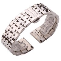роскошные ремешки для часов 22 мм оптовых-18mm 20mm 22mm Stainless Steel Watch Band Strap Silver Polished Mens  Replacement Metal Watchband Bracelet Accessories