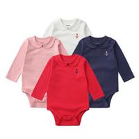 brands kleidung china großhandel-Brand Herbst Stil Neugeborenes Baby Kleidung Langarm Bodys Baumwolle Körper Mädchen-Kleidung Zwillinge China-importierten-Kleidung