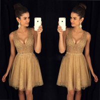 Wholesale stone cocktail dresses - 2018 Gold V Neck Lace A Line Homecoming Dresses Sleeveless Beaded Stones Top Knee Length Short Prom Party Cocktail Dresses BA7644