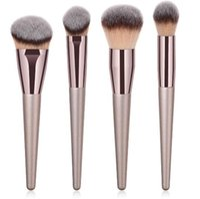 Wholesale Champagne Hair - 4pcs set Multifunction Makeup Brushes Set Foundation Powder Blush Blusher Blending Champagne Wood Handle Face Brush CCA9471 20set