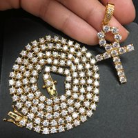 Wholesale cross heart jewelry set resale online - Gold Silver Color Plated Iced Out Zircon Ankh Cross Pendant Necklace with Tennis Chain Set Men Hip Hop Jewelry